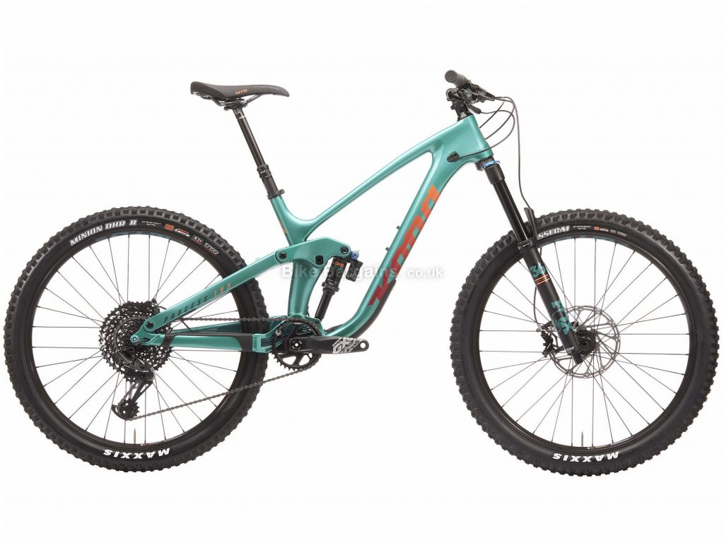"Kona Process 153 CR 27.5 Carbon Full Suspension Mountain Bike 2020 XL, Turquoise, Black, 12 Speed, Carbon Frame, Disc Brakes, 27.5"" wheels"