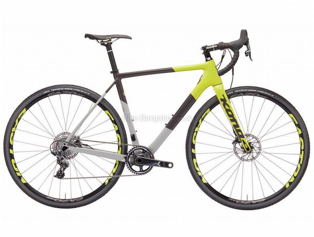 Kona Super Jake Carbon Cyclocross Bike 2019 48cm,58cm, Grey, Yellow, White, 11 Speed, Carbon Frame, Disc Brakes, 700c wheels