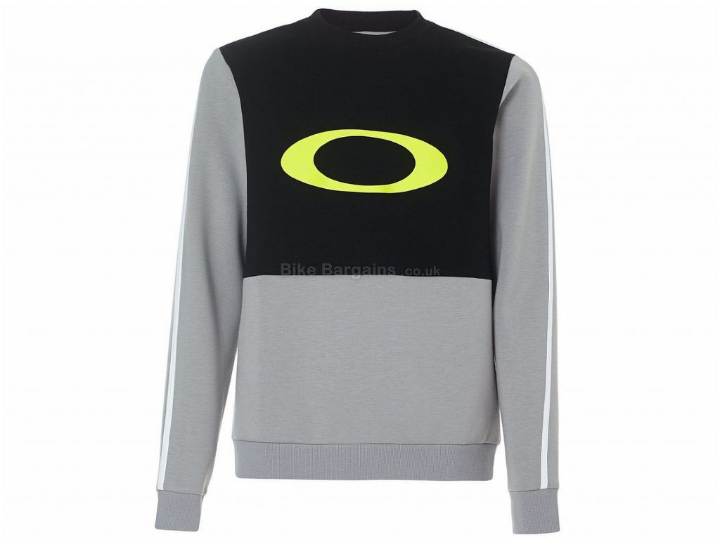 Oakley Jazz Hands DWR Crew Neck Long Sleeve T-Shirt M, Grey, Black, Yellow, Long Sleeve, Polyester, Rayon, Elastane