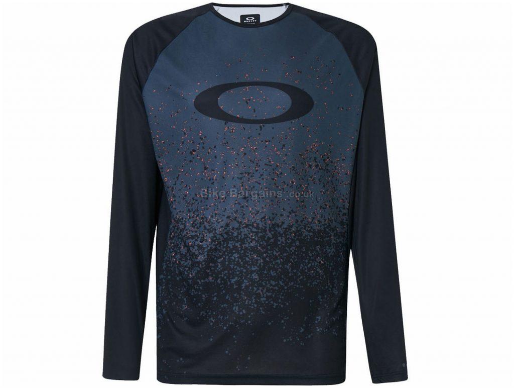 Oakley Tech Tee MTB Long Sleeve Jersey S, Grey, Black, Long Sleeve, Polyester