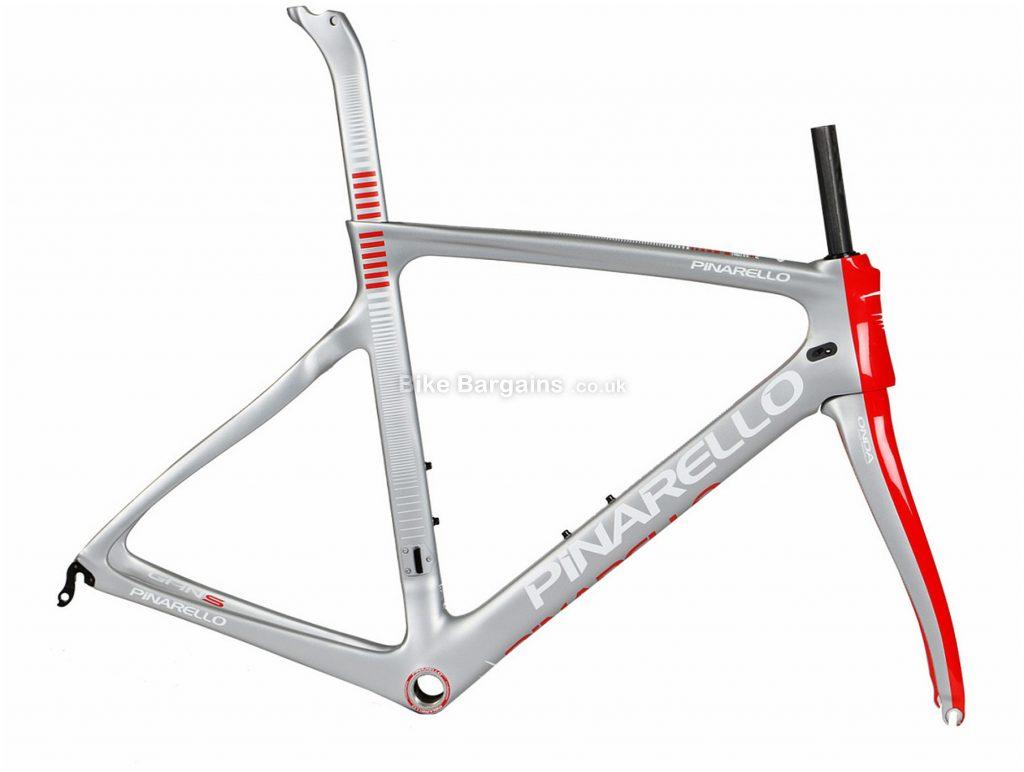 Pinarello Gan S Carbon Road Frame 2018 54cm, Silver, Red, Carbon Frame, 700c, Caliper Brakes