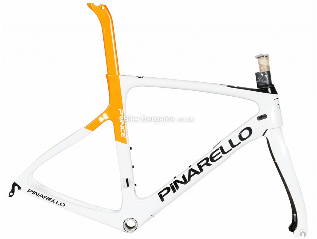 Pinarello Prince Carbon Road Frame 2019 59cm, White, Orange, Carbon Frame, 700c, Caliper Brakes