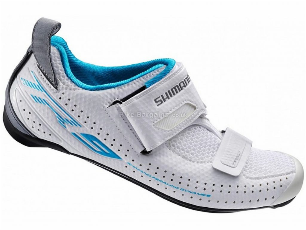 Shimano TR9W Ladies Triathlon Shoes 36, White, Blue, Carbon Sole, 502g, Velcro fastening