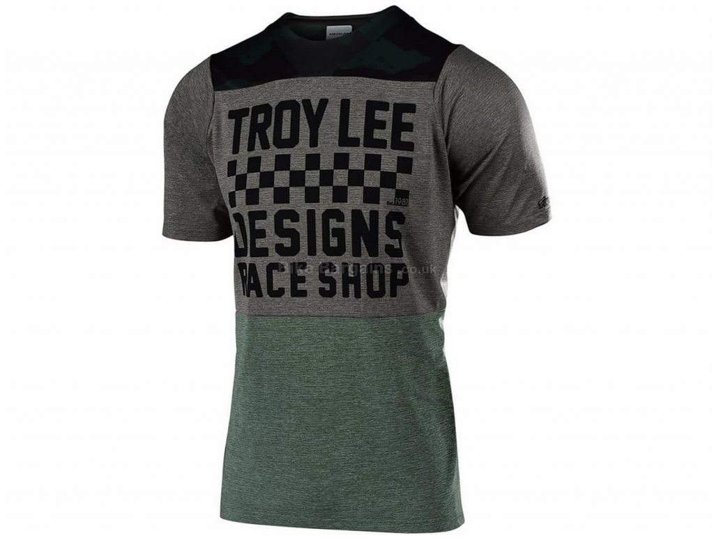 Troy Lee Designs Skyline Checker Short Sleeve Jersey 2019 S, Grey, Black, Blue, Red
