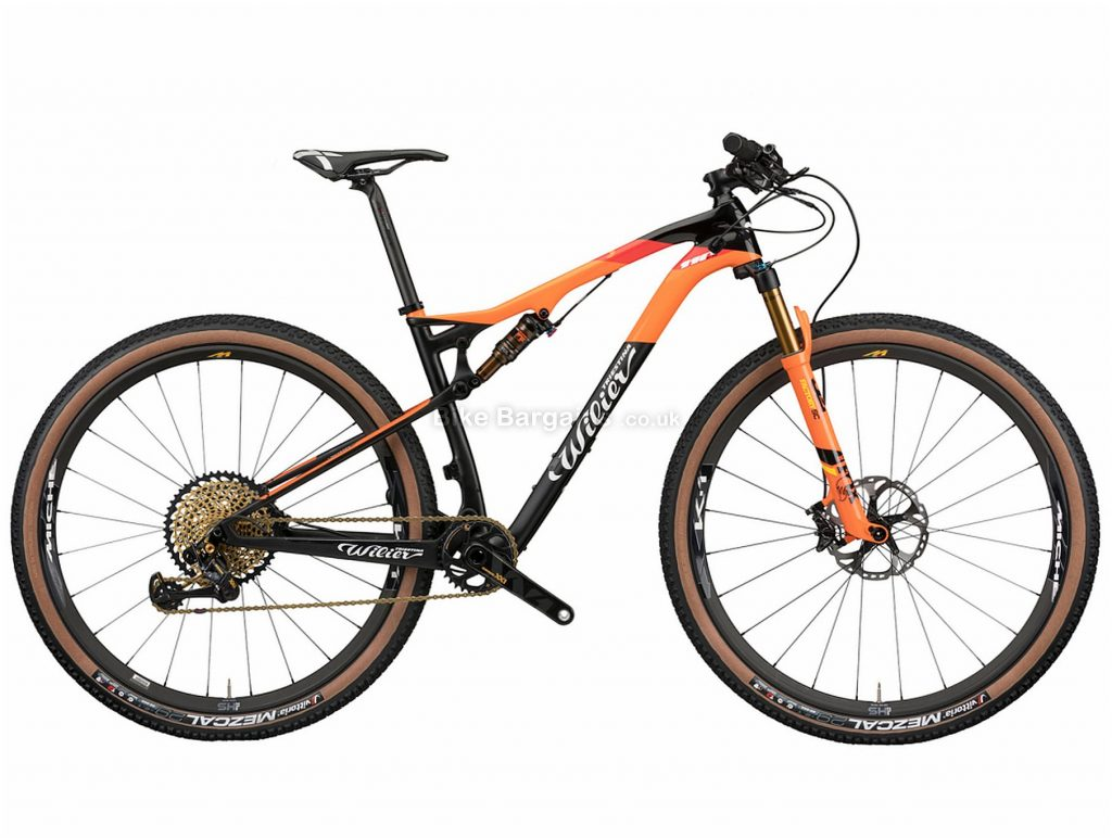 """Wilier 110 FX XT Carbon Full Suspension Mountain Bike 2020 XL, Black, Orange, Carbon Full Suspension Frame, Disc Brakes, 12 Speed, 29"""" Wheels, Single Chainring"""