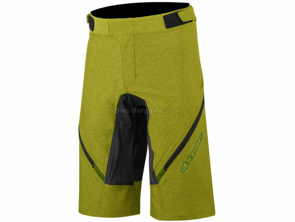 "Alpinestars Bunny Hop MTB Shorts 28"", Green, Black, Men's, Baggy, Polyester, Polyamide, Elastane"