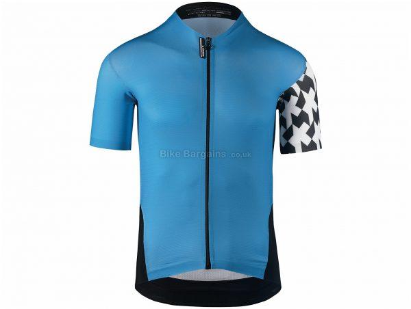 Assos Equipe Evo8 Short Sleeve Jersey XS, Blue, Black, Short Sleeve, Men's, Polyester, Polyamide, Elastane
