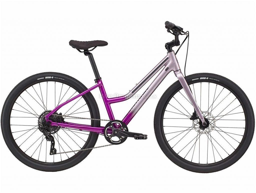 Cannondale Treadwell 2 Remixte Ltd Step Through Ladies Alloy City Bike 2021 L, Purple, Disc Brakes, Single Chainring, 9 Speed, Rigid, 650c, Alloy