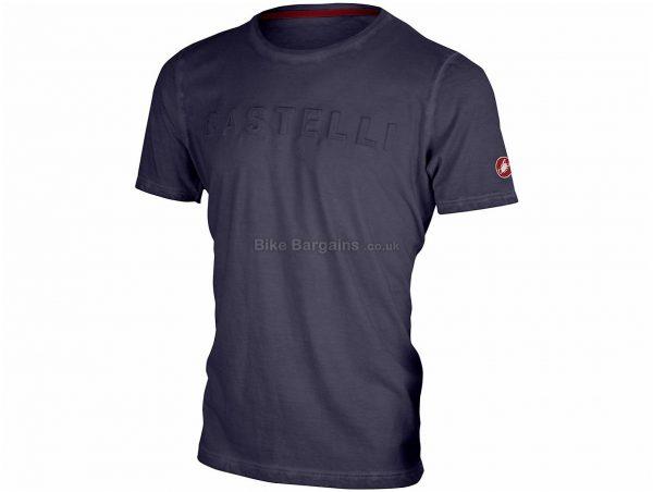 Castelli Bassorilievo T-Shirt XS, Blue, Grey, Cotton, Short Sleeve