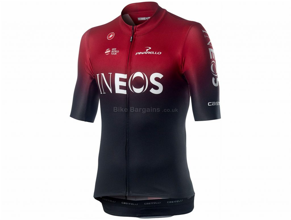 Castelli Team Ineos Squadra FZ Short Sleeve Jersey S, Black, Red, Short Sleeve, Polyester, Elastane