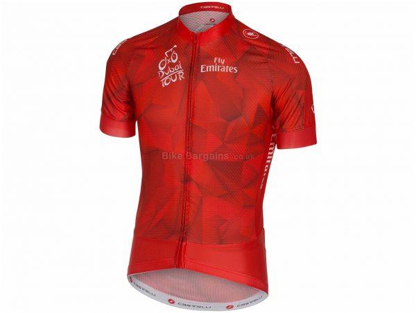 Castelli Tour of Dubai Marathon Short Sleeve Jersey L, Green, White, Black, Red, Polyester, Short Sleeve