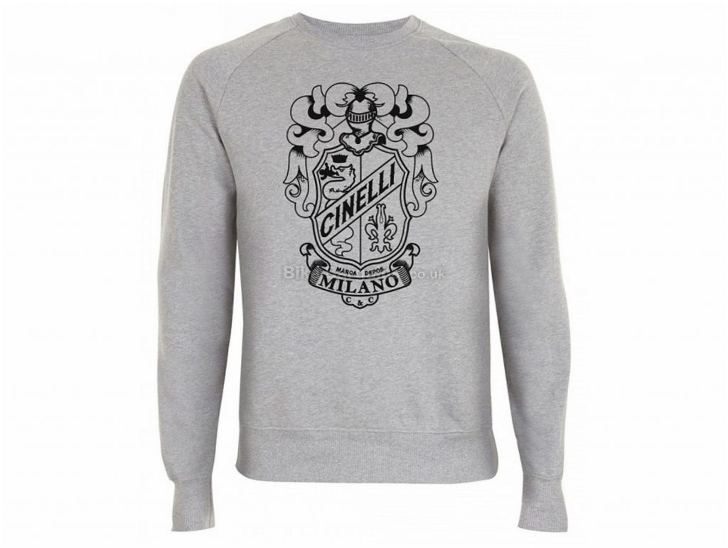 Cinelli Crest Crew Neck Long Sleeve T-Shirt XL, Grey, Men's, Long Sleeve, Cotton