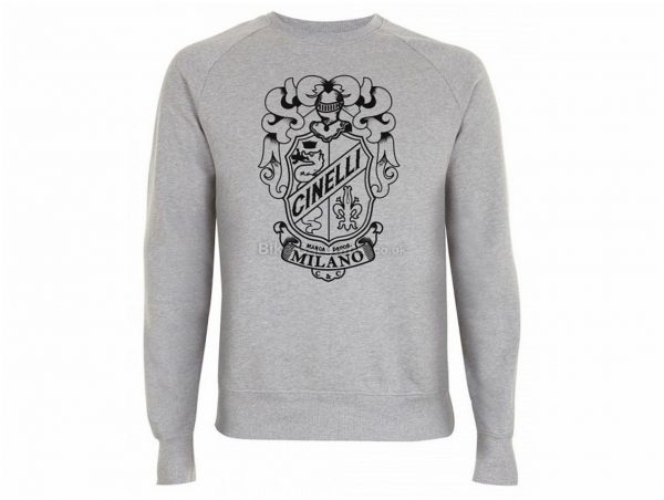 Cinelli Crest Crew Neck Long Sleeve T-Shirt XL, Grey, Men's, Long Sleeve, Cotton