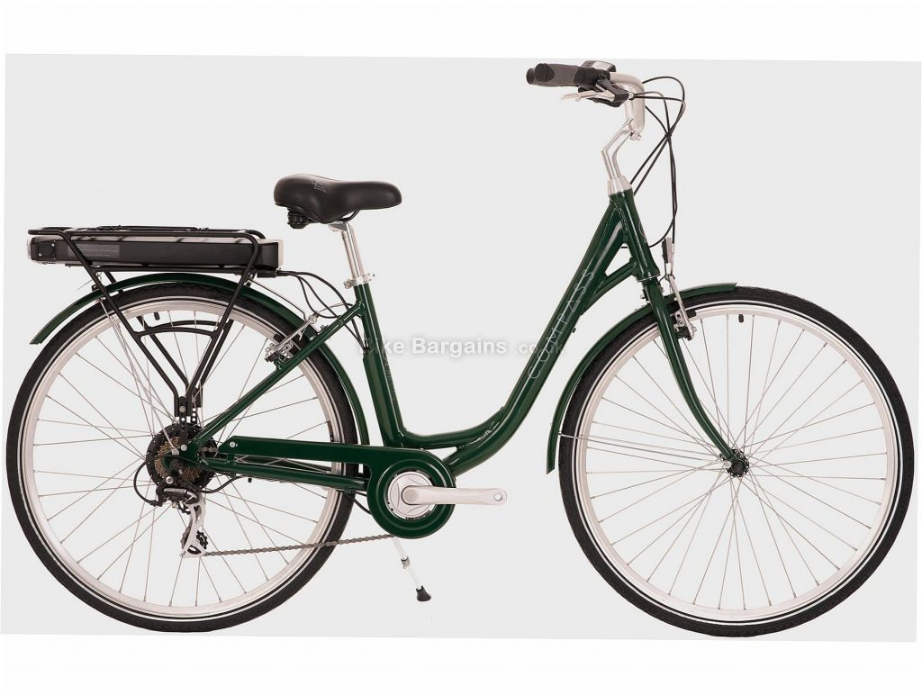 """Compass Ladies Electric Alloy Town City Bike 16"""", Green"""