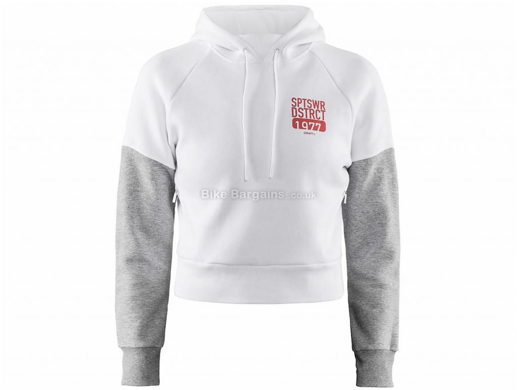 Craft Ladies District Hoodie XL, White - Grey & Black are extra, Ladies, Long Sleeve, Cotton, Polyester