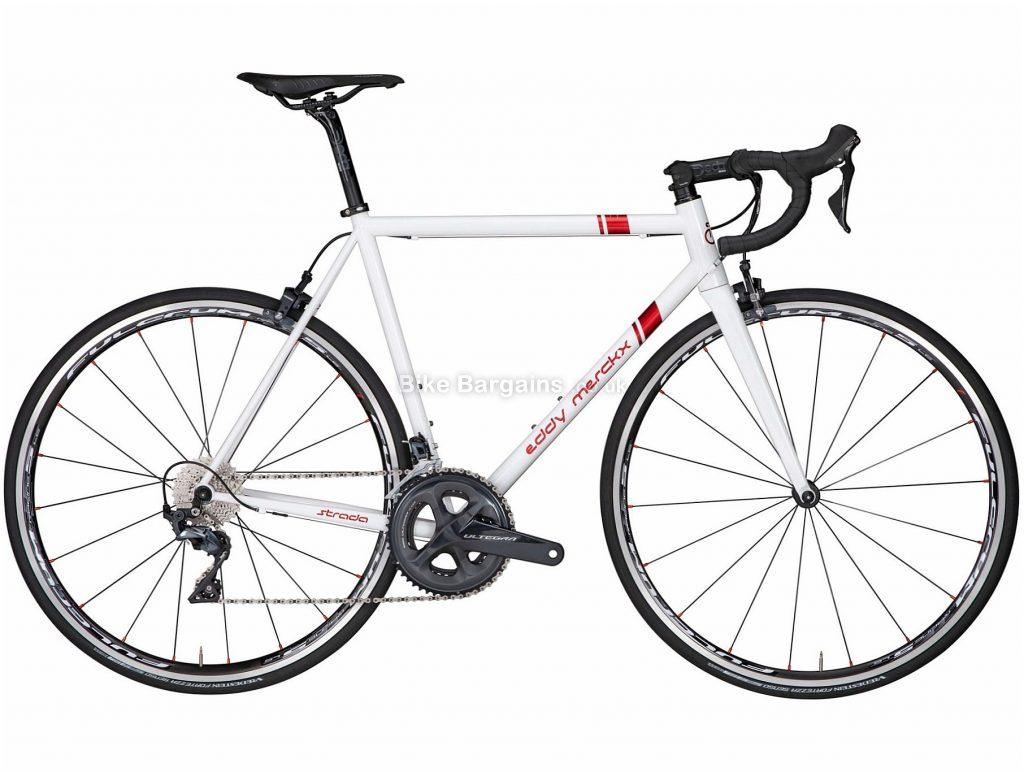 Eddy Merckx Strada Ultegra Steel Road Bike S, White, Red, Steel Frame, 700c Wheels, Caliper Brakes, 22 Speed