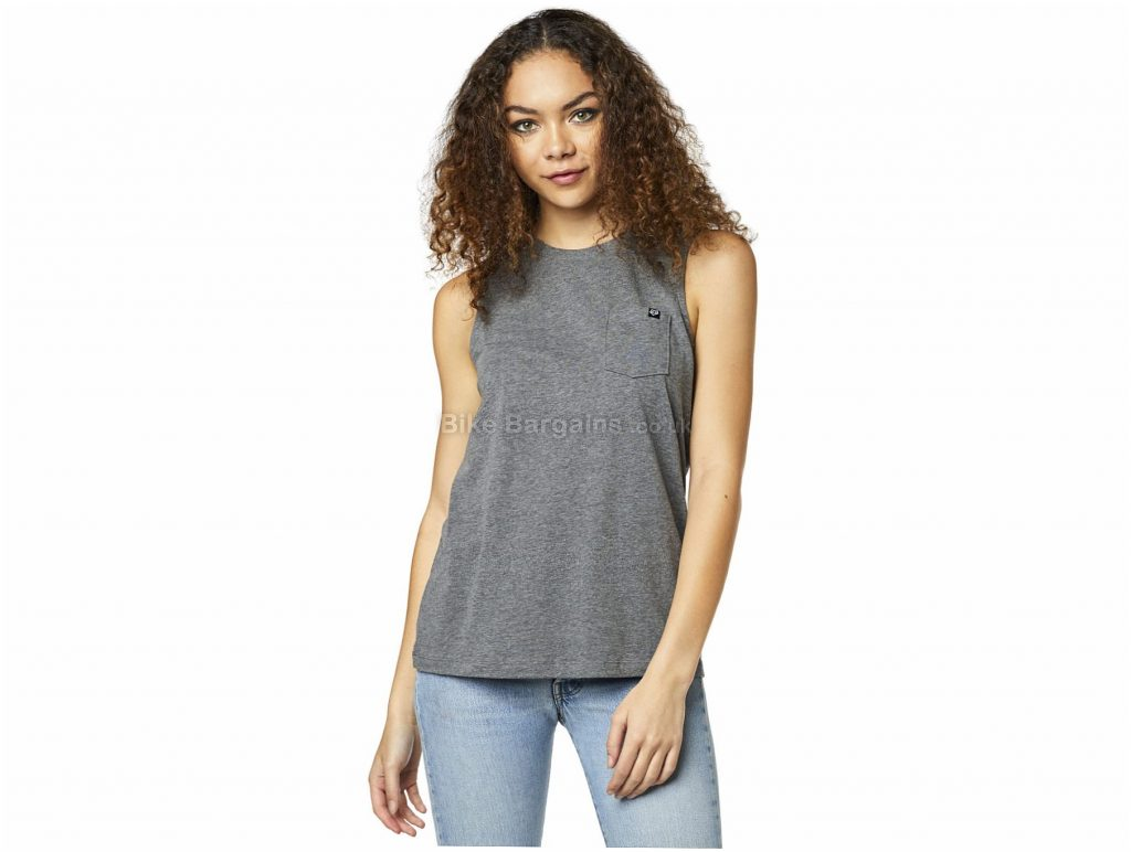 Fox Ladies Flutter Sleeveless Tank Top L, Grey, Ladies, Sleeveless, Cotton, Polyester