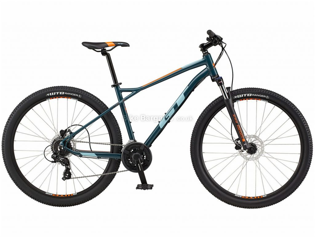 """GT Aggressor Expert 29 Alloy Hardtail Mountain Bike 2021 L, Blue, Silver, Disc Brakes, Triple Chainring, 24 Speed, Hardtail, 29"""", Alloy"""
