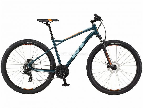 "GT Aggressor Expert 29 Alloy Hardtail Mountain Bike 2021 S,M,L, Silver, Blue, Disc Brakes, Triple Chainring, 24 Speed, Hardtail, 29"", Alloy"