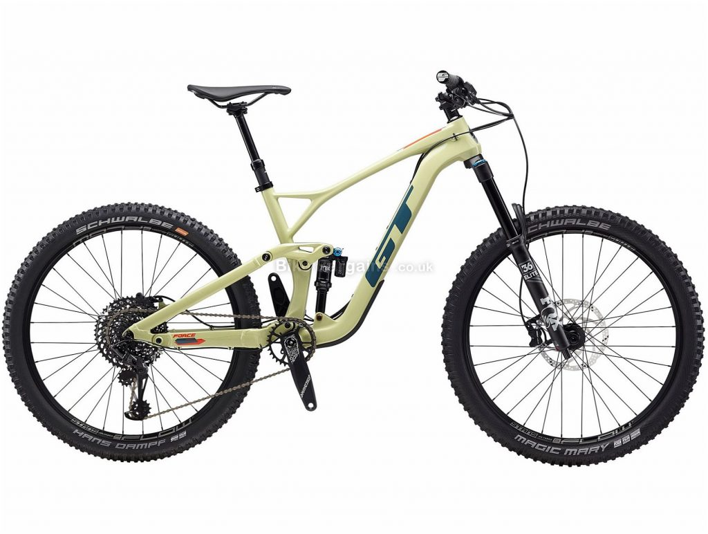 "GT Force Carbon Expert 27.5 Full Suspension Mountain Bike 2020 XL, Yellow, Blue, 12 Speed, Carbon Frame, 27.5"" Wheels, Disc Brakes, Full Suspension"