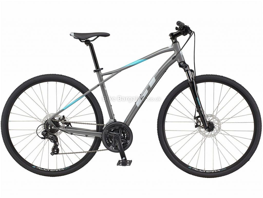 GT Transeo Comp Alloy Urban City Bike 2021 S, Grey, Blue, Alloy Frame, Disc Brakes, 21 Speed, 700c Wheels, Triple Chainring