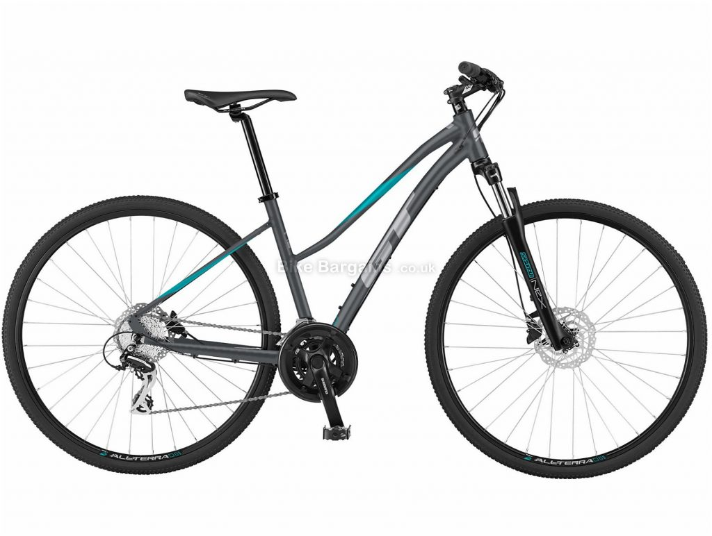 GT Transeo Comp Ladies Step Thru Alloy Urban City Bike 2021 M, Grey, Blue, Alloy Frame, Disc Brakes, 21 Speed, 700c Wheels, Triple Chainring
