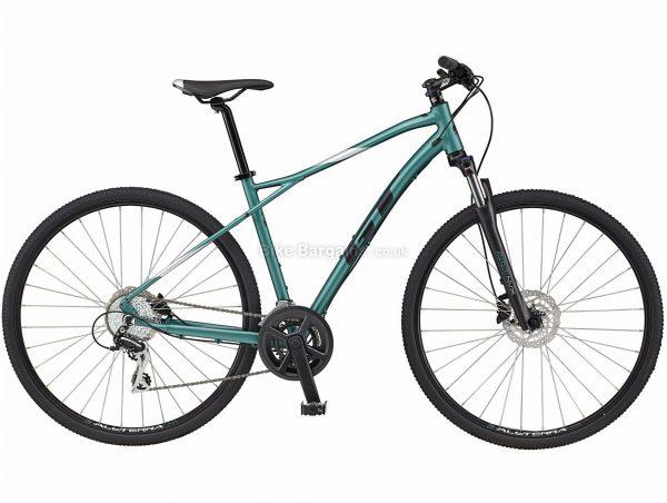GT Transeo Elite Alloy City Bike 2021 M, Green, Black, Disc Brakes, Double Chainring, 16 Speed, Hardtail, 700c, Alloy