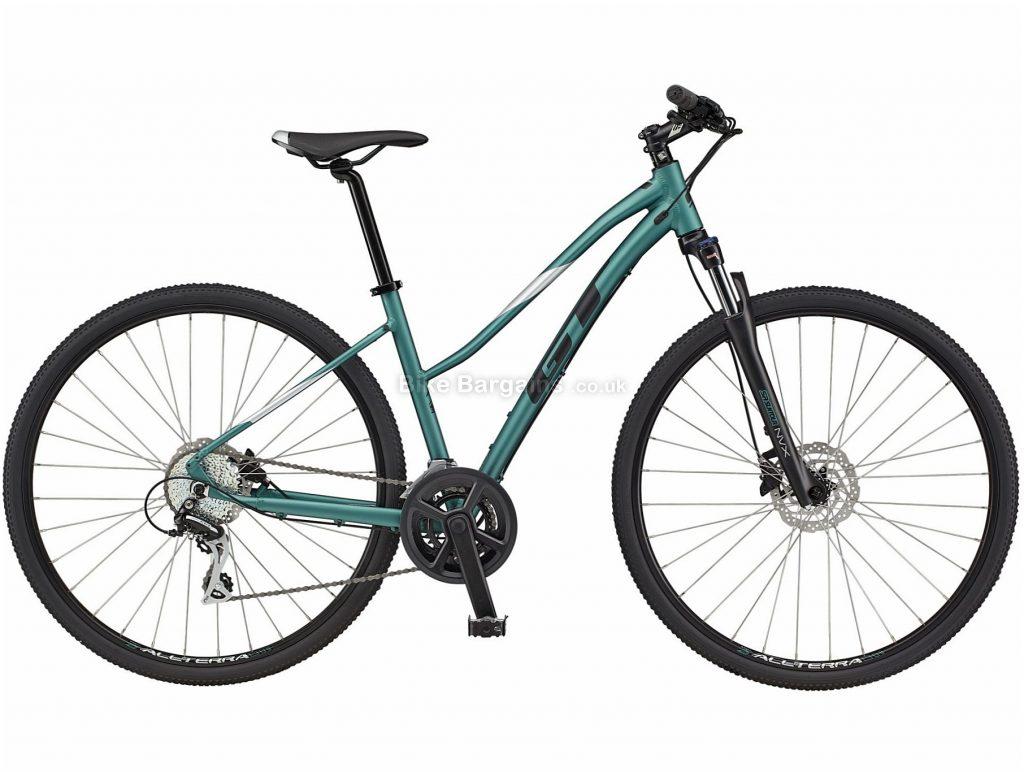 GT Transeo Elite Ladies Step Thru Alloy Urban City Bike 2021 L, Green, Black, Alloy Frame, Disc Brakes, 16 Speed, 700c Wheels, Double Chainring