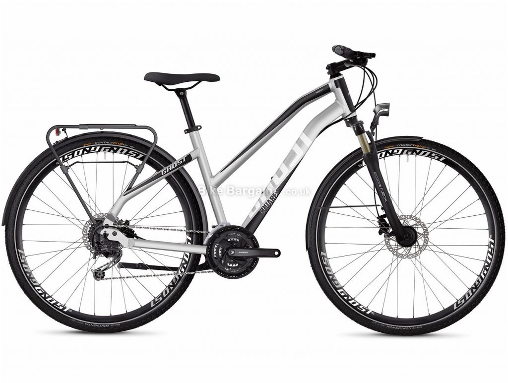 Ghost Square Trekking 4.8 W Ladies Alloy City Bike 2020 S, Silver, Black, 17.3kg, Disc, 27 Speed, Triple Chainring, Alloy Frame