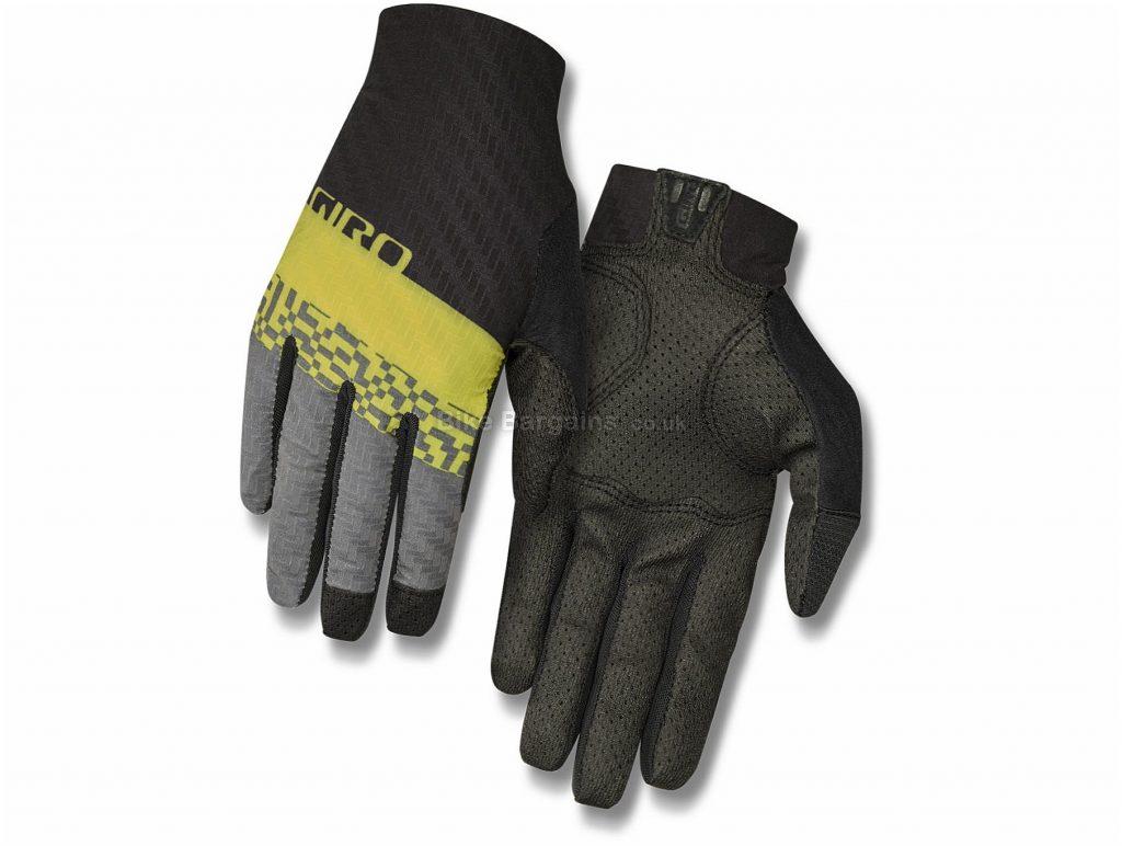 Giro Rivet CS Full Finger Gloves S,M,L,XL, Black, Yellow, Grey, Unisex, Full Finger, Polyamide, Elastane