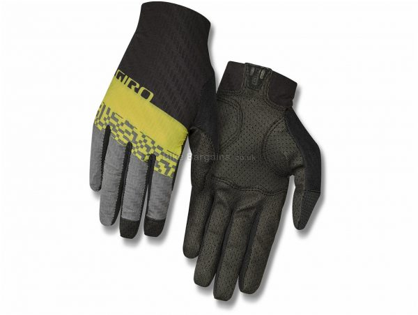 Giro Rivet CS Full Finger Gloves S, Black, Yellow, Grey, Unisex, Full Finger, Polyamide, Elastane