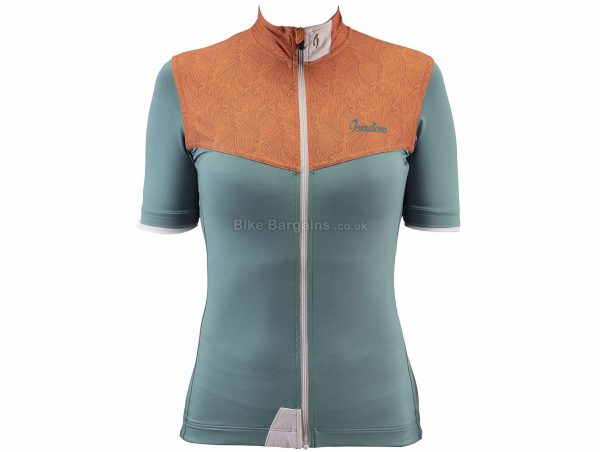 Isadore Ladies Exclusive Springdream Short Sleeve Jersey XL, Green, Brown, Ladies, Short Sleeve, Polyamide, Elastane