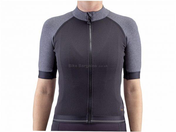 Isadore Ladies Medio Merino Short Sleeve Jersey L, Grey, Black, Ladies, Short Sleeve, Wool, Polyamide