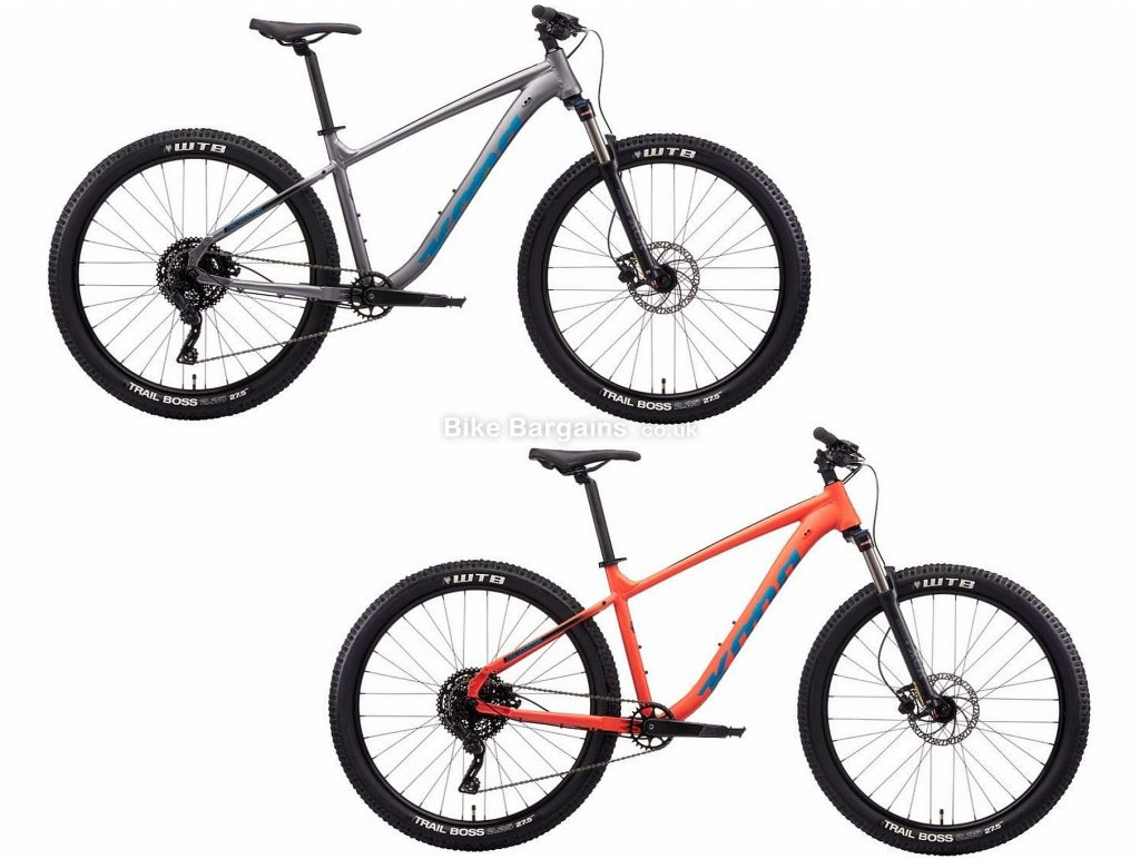 "Kona Fire Mountain Alloy Hardtail Mountain Bike 2021 XL, Orange, Grey, Disc Brakes, Single Chainring, 9 Speed, Hardtail, 27.5"", Alloy"