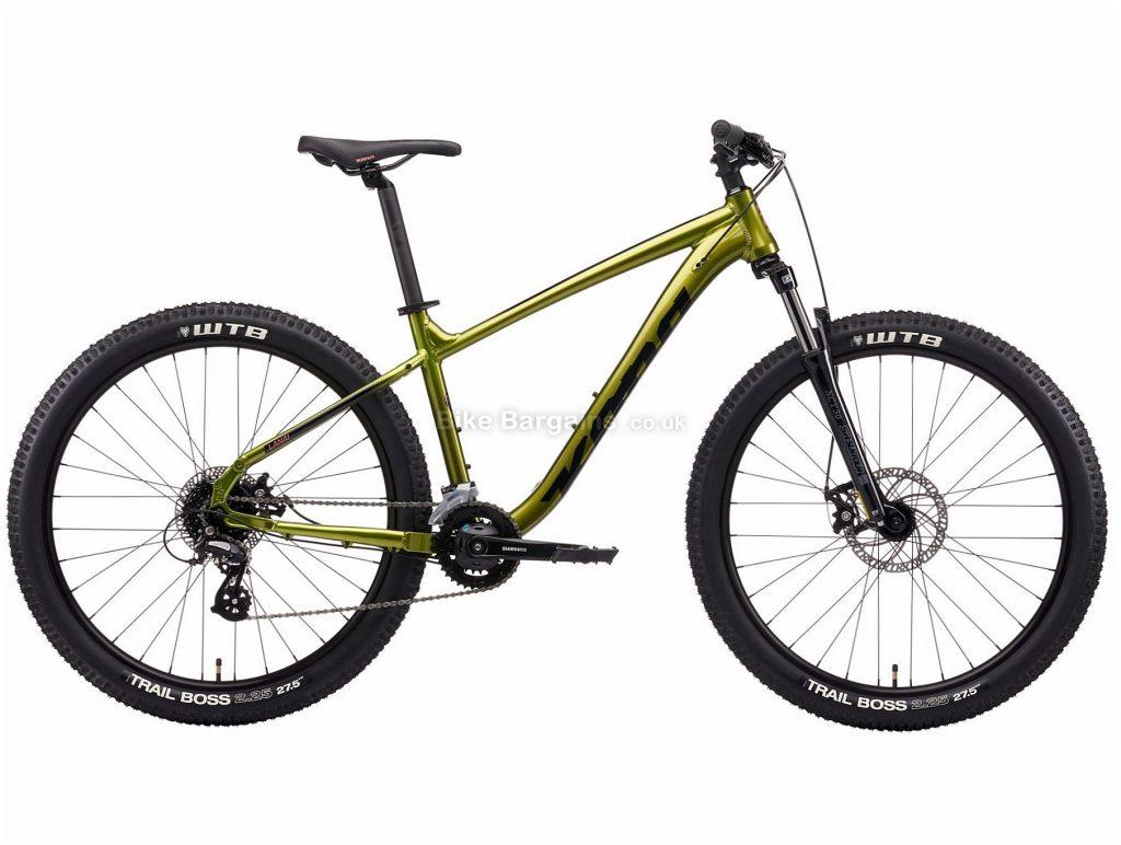 "Kona Lana'l Alloy Hardtail Mountain Bike 2021 S, Silver, Green, Alloy Frame, Disc Brakes, 16 Speed, 27.5"" or 29"" Wheels, Double Chainring"