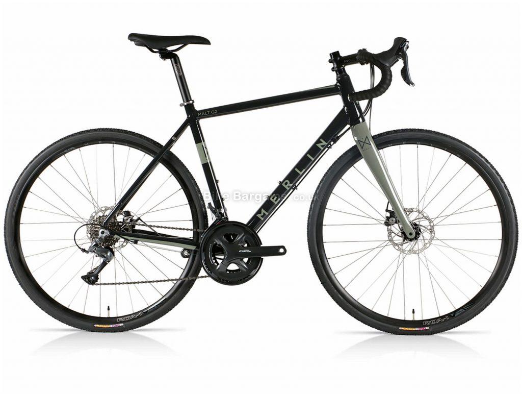 Merlin Malt G2 Claris Alloy Gravel Bike 2021 47cm,50cm, Black, Grey, Alloy Frame, Disc Brakes, 16 Speed, 700c Wheels, Double Chainring, 11.3kg