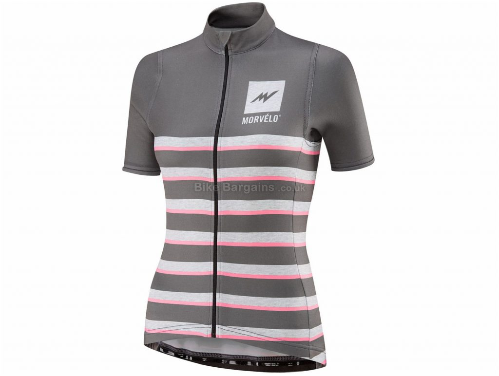 Morvelo Ladies Heathers Merino Short Sleeve Jersey XL, Grey, Pink, Ladies, Short Sleeve, Polyester, Merino, Wool