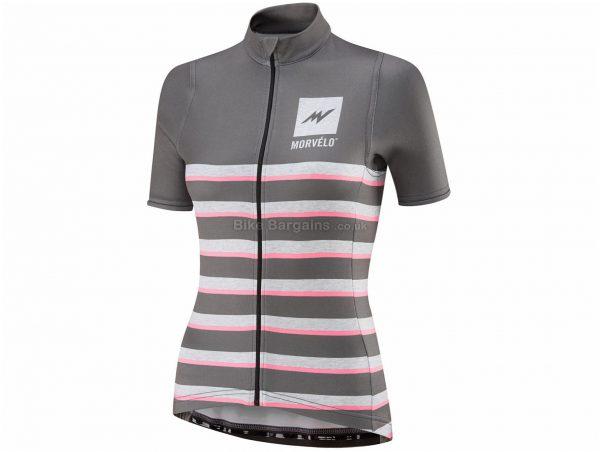 Morvelo Ladies Heathers Merino Short Sleeve Jersey XL, Grey, Pink, Ladies, Short Sleeve, Polyester, Merino, Wool