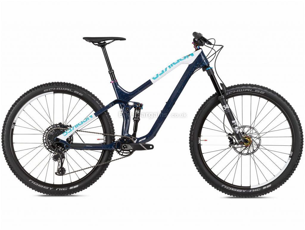 "NS Bikes Define 130 2 Carbon Full Suspension Mountain Bike 2020 L, Black, White, Blue, 12 Speed, Carbon Frame, 29"" Wheels, Disc Brakes, Full Suspension"