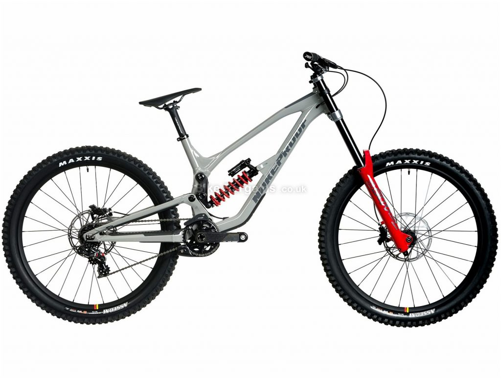 """Nukeproof Dissent 275 RS XO1 DH Alloy Full Suspension Mountain Bike 2020 S, Grey, Red, 7 Speed, Alloy Frame, 27.5"""" Wheels, Disc Brakes, Full Suspension"""