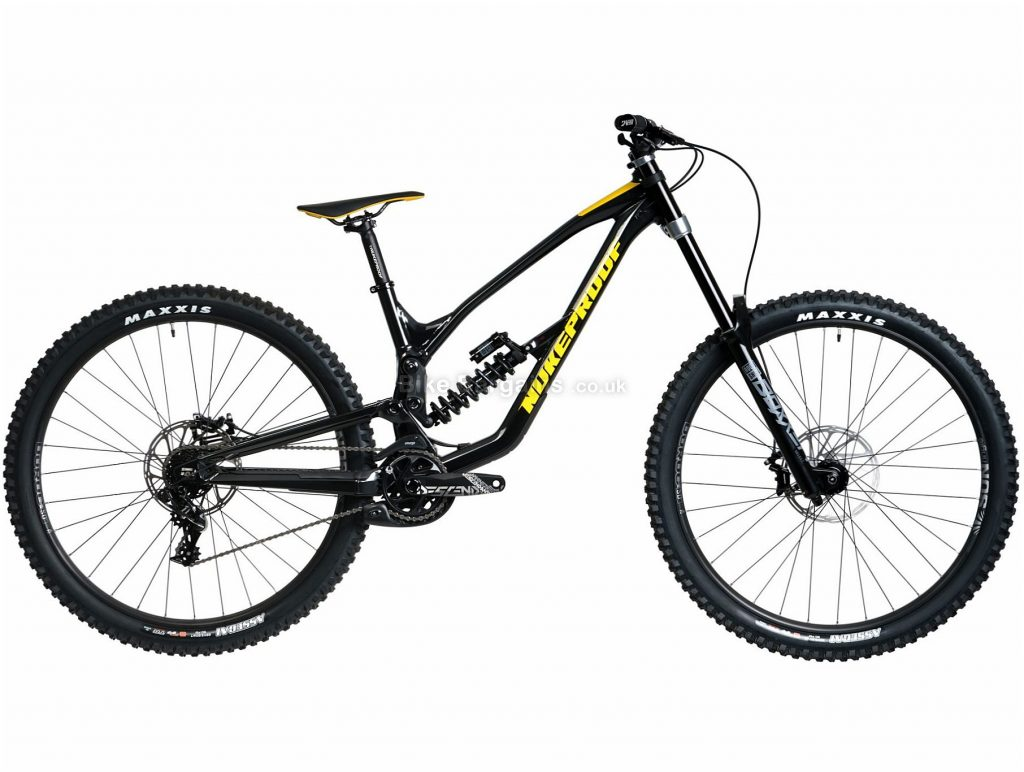 "Nukeproof Dissent 290 Comp GX DH Alloy Full Suspension Mountain Bike 2020 M, Black, Yellow, 7 Speed, Alloy Frame, 29"" Wheels, Disc Brakes, Full Suspension"