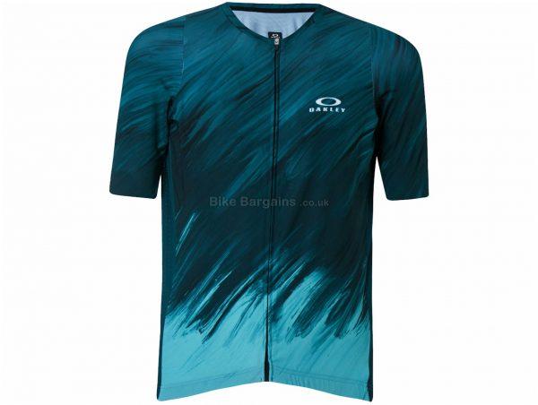 Oakley Endurance 2.0 Short Sleeve Jersey XS, Black, Yellow, Blue, White, Unisex, Short Sleeve, Polyester, Elastane