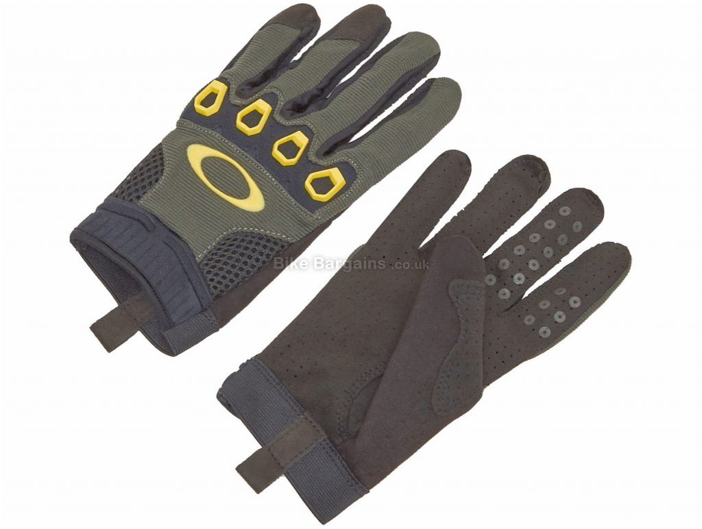 Oakley New Automatic 2.0 Full Finger Gloves XS, Blue, Black, Red, Unisex, Full Finger, Synthetic Leather, Elastane, Rubber, Polyester, Nylon, Polyamide