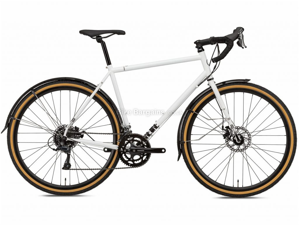 Octane One Kode ADV Commuter Steel Road Bike 2020 L, White, Black, 16 Speed, Steel Frame, 700c Wheels, Disc Brakes