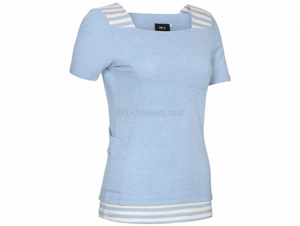 Primal Ladies HT. A Pearl Boat Neck Short Sleeve Top L, Blue, Ladies, Short Sleeve, Cotton, Polyester, Spandex