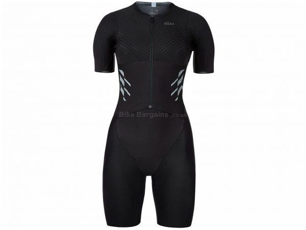 Roka Ladies Elite Aero II Short Sleeve Tri Suit XL, Black, Short Sleeve, Ladies, Polyester
