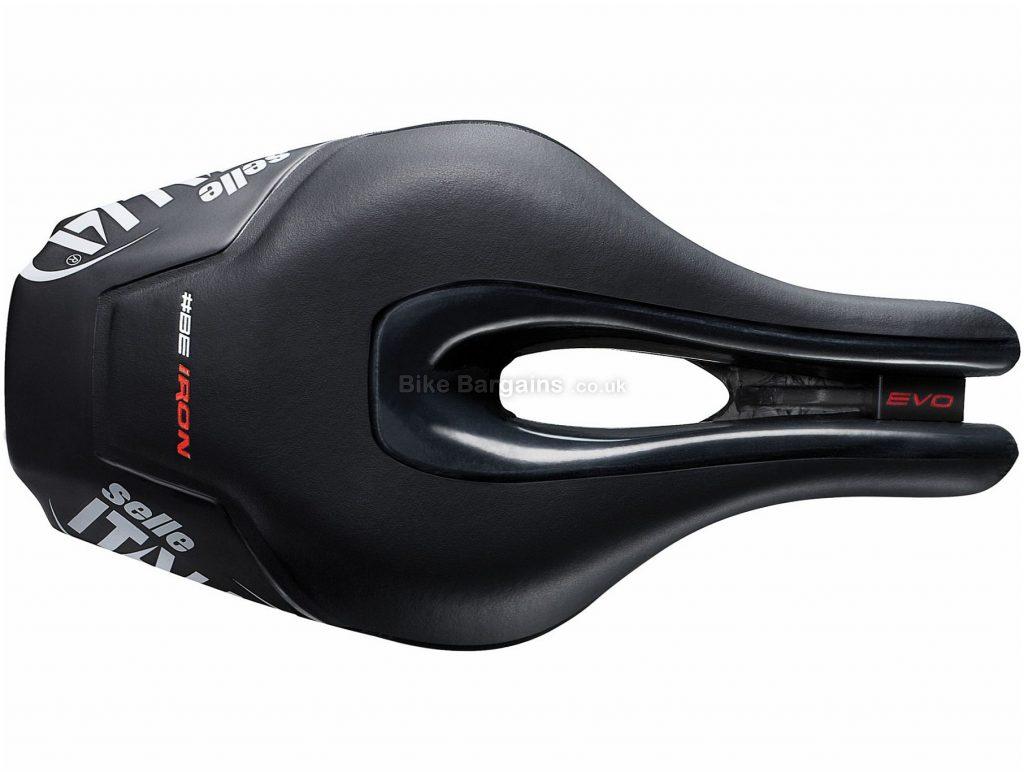 Selle Italia Iron Evo Superflow Saddle 256mm, 132mm, Black, 245g, Carbon, Titanium