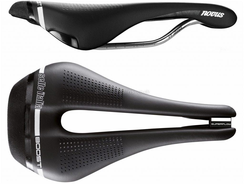 Selle Italia Novus Boost Superflow Saddle S,L, 135mm, Black, Titanium, Leather, Men's
