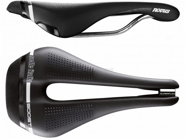 Selle Italia Novus Boost Superflow Saddle S, 135mm, Black, Titanium, Leather, Men's