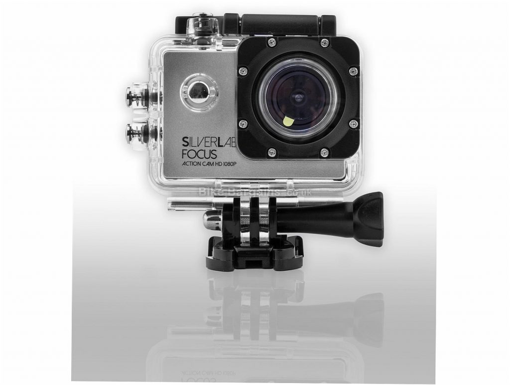 SilverLabel Focus 1080p Sports Action Camera 1080P @ 30fps, 720 @ 60fps, 480 @ 60fps - 59mm, 41mm, 24mm, Silver, Black, Plastic